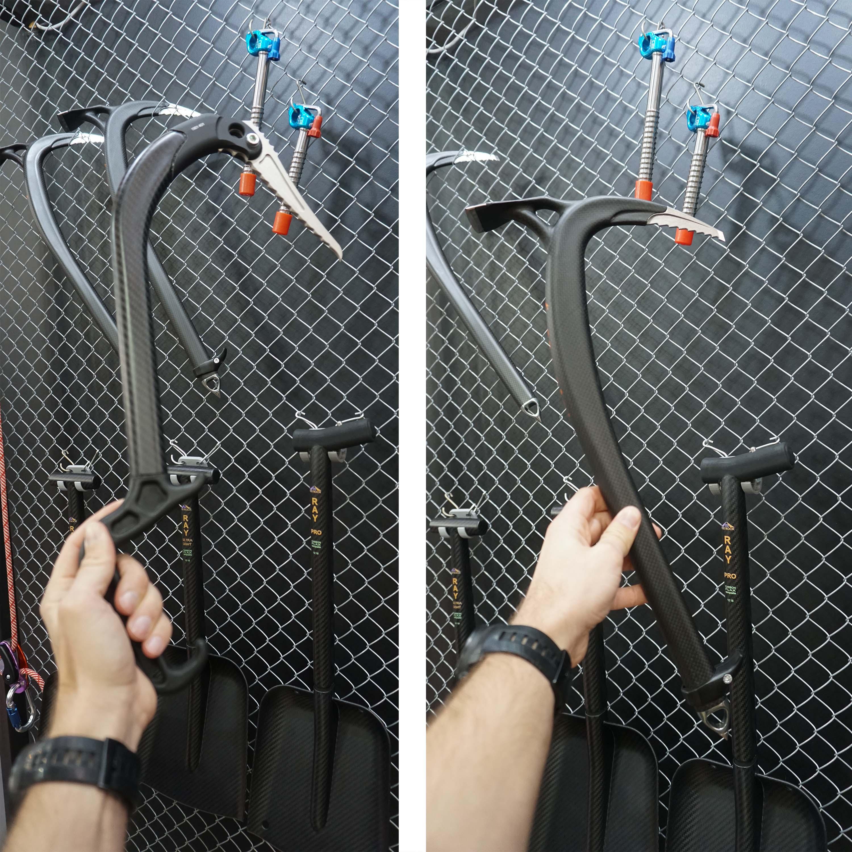 Climbing axes made of carbon and titanium